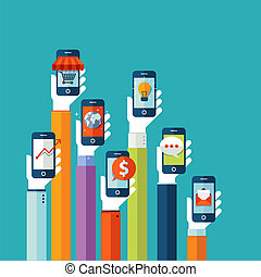 mobile, appartamento, disegno, concetto, apps