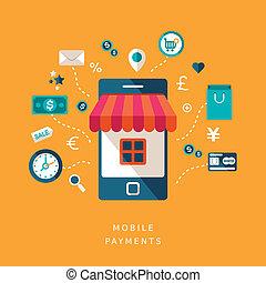 mobile, appartamento, disegno, pagamenti