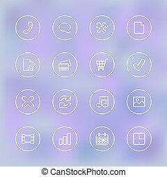 mobile, chiaro, ui, trasparente, iconset, app
