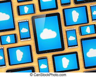 mobile, concetto, nuvola, congegni, calcolare