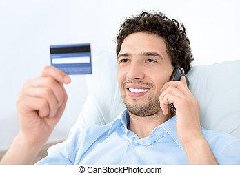 mobile, credito, giovane, scheda, uomo
