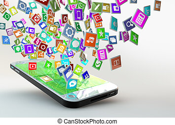 mobile, domanda, nuvola, telefono, icone