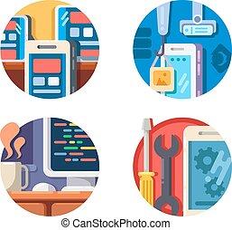 mobile, domanda, set, programmazione, icone