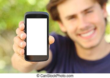 mobile, felice, telefono, uomo, esposizione, esterno, schermo, vuoto