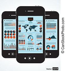 mobile, grafici, infographic., set