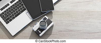 mobile, illustration., legno, tavoletta, laptop, fondo, macchina fotografica, retro, 3d