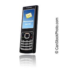 mobile, invio, messaggio, telefono., concept.
