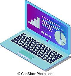 mobile, isometrico, creato, laptop, eps, illustrazione, prodotti, vettore, web, fondo, stampa, bianco, domanda, decorazione