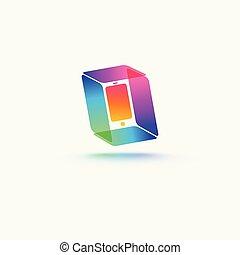 mobile, logotipo, simbolo, telefono, astratto, sagoma