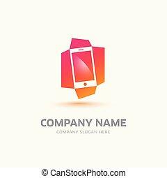 mobile, logotipo, simbolo, vettore, telefono, astratto, sagoma