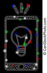 mobile, macchie, luce, luminoso, filo, lampada, bagliore, maglia, cornice