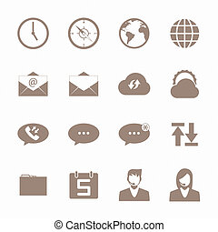 mobile, marrone, set, icona, telefono