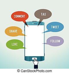 mobile, media, sociale