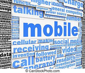 mobile, messaggio, concetto