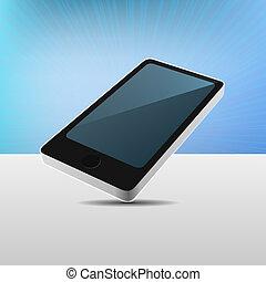 mobile, moderno, realistico, vettore, telefono., vista, 3d