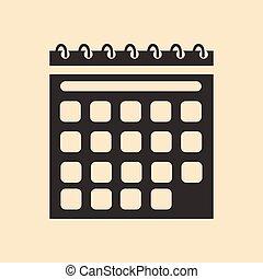 mobile, nero, calendario, domanda, appartamento, bianco