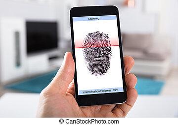 mobile, scansione, impronta digitale, persona, telefono