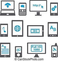 mobile, set, computer, congegni, icone