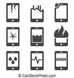 mobile, set., danno, telefono, vettore, icona
