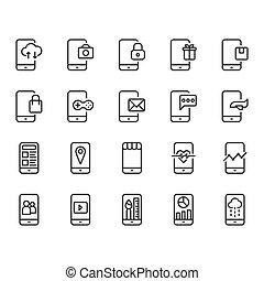 mobile, set., illustrazione, domanda, vettore, icona