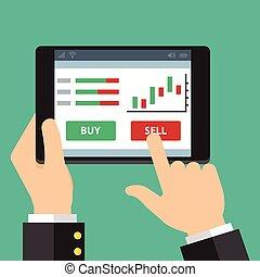 mobile, straniero, commercio, scambio
