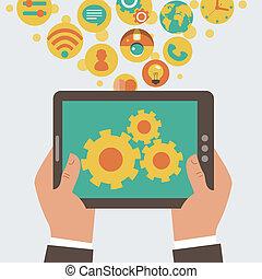 mobile, sviluppo, app, vettore, conce