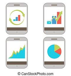 mobile, tabelle, finanza, icona