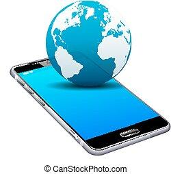 mobile, telefono cellulare, mondo, far male, 3d