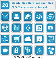 mobile, web, set, servizi, icona