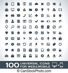 mobile, web, universale, icone