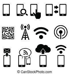 mobile, wifi, set, icona