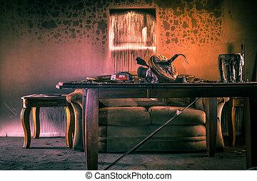 mobilia, danneggiato, fuoco
