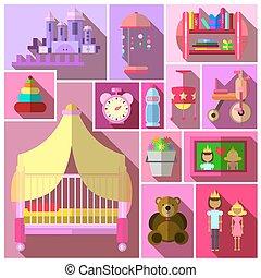 mobilia, ragazze, camera letto, sets.