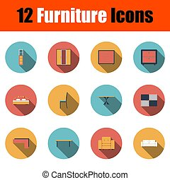 mobilia, set, icona