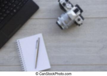 mocap, idee, legno, macchina fotografica foto, blocco note, affari, avvio, priorità bassa vaga, concetto, scheda