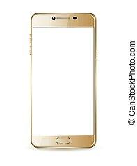 mock-up., smartphone, oro