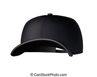 mockup, baseball, vista., fronte, nero uniforme, sport, cap., isolato, vuoto, bianco, sagoma, berretto, fondo., hat., vuoto, realistico