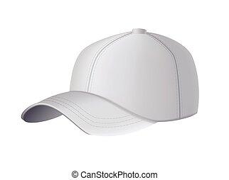 mockup, vuoto, fondo., bianco, berretto, sagoma, hat., vuoto, vista., sport, fronte, cap., baseball, grigio, isolato, uniforme, realistico