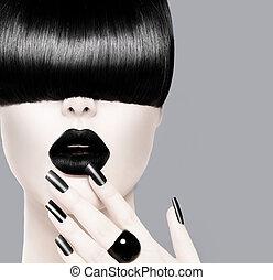 moda, acconciatura, labbra, nero, manicure, trendy, modello
