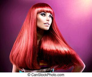 moda, bellezza, hair., modello, lungo, sano, rosso, diritto