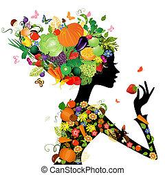moda, capelli, disegno, frutte, ragazza, tuo