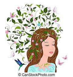 moda, capriccio, capelli, disegno, floreale, ragazza, tuo