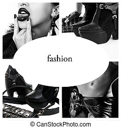 moda, collage, accessori, nero, foto, bianco