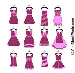 moda, collezione, elegante, vettore, ragazza, vestiti
