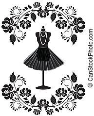 moda, cornice, collana, indossatrice, floreale, gonna, scheda