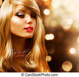 moda, girl., hair., fondo, biondo, dorato, biondo