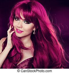moda, hairstyle., bellezza, riccio, lungo, hair., ritratto, ragazza, woman., rosso