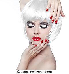 moda, hairstyle., bellezza, trucco, isolato, fondo., labbra, manicured, ragazza, bianco rosso, nails.