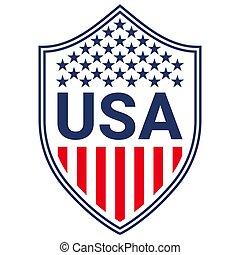 moda, indipendenza, stampa, giorno, etichetta, graphics., elemento, abbigliamento, abbigliamento sportivo, bandiera, distintivo, patriottico, camicia, stati uniti, t, scudo, distintivo, tipografia, americano, design.