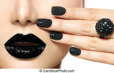 moda, lips., trucco, caviale, nero, manicure